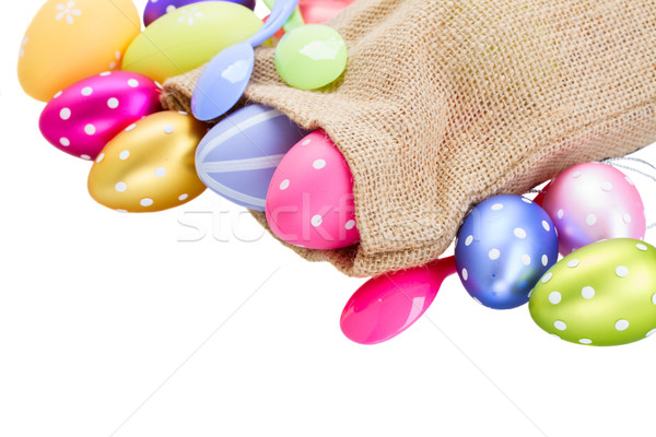 pile of colorful easter eggs in pouch Stock photo © neirfy