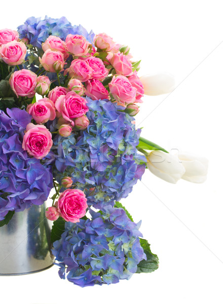 bouquet of white tulips, pink roses and blue hortensia flowers Stock photo © neirfy