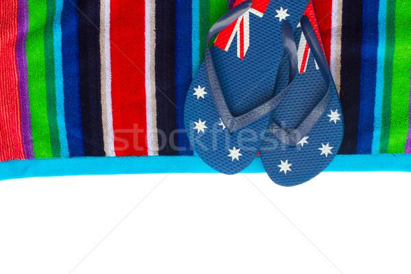 Sandalen handdoek strandlaken grens geïsoleerd witte Stockfoto © neirfy