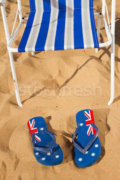 şezlong sandalet yaz plaj mavi kumlu Stok fotoğraf © neirfy