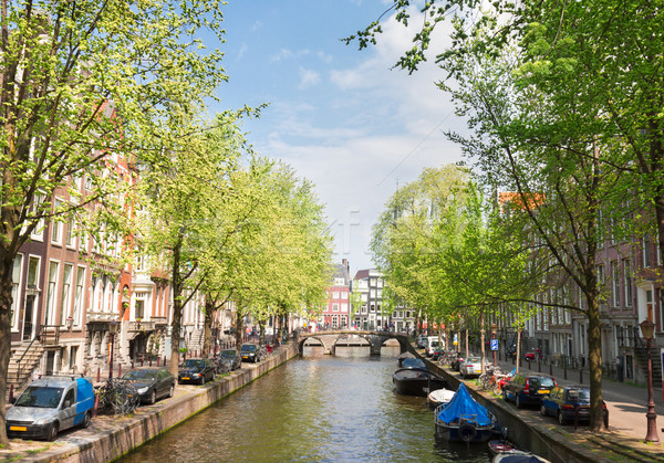 One of canals in Amsterdam, Holland Stock photo © neirfy