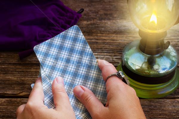 Tarot kartları güverte eller sevmek Stok fotoğraf © neirfy