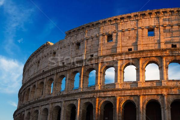 Колизей закат Рим Италия руин небе Сток-фото © neirfy