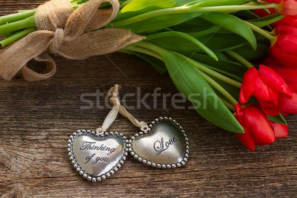 Amore cuori fiori rosso Foto d'archivio © neirfy