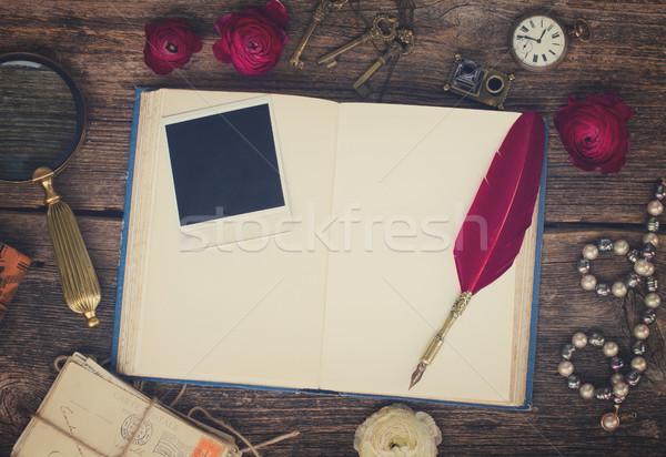 Pena caneta velho livro aberto foto Foto stock © neirfy