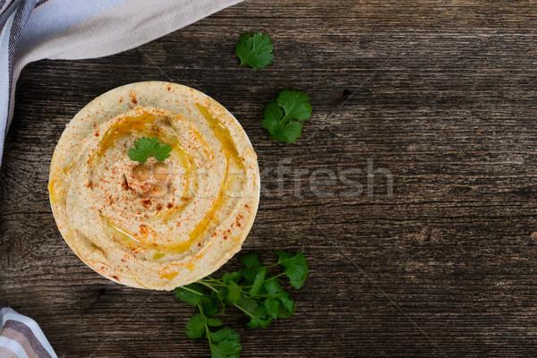 Plate of hummus Stock photo © neirfy
