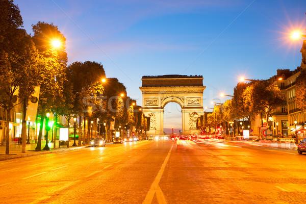 Diadalív Párizs Franciaország éjszaka utca utazás Stock fotó © neirfy