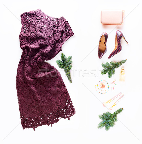 Fashion Christmas flat lay scene Stock photo © neirfy