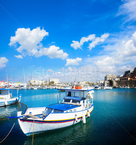 старые порта Греция красочный лодках небе Сток-фото © neirfy