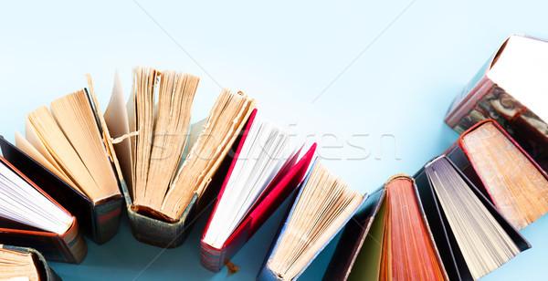 Eski kitaplar mavi bo iş Stok fotoğraf © neirfy