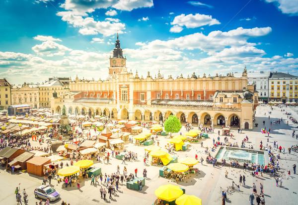 Piac tér Krakkó Lengyelország ruha előcsarnok Stock fotó © neirfy