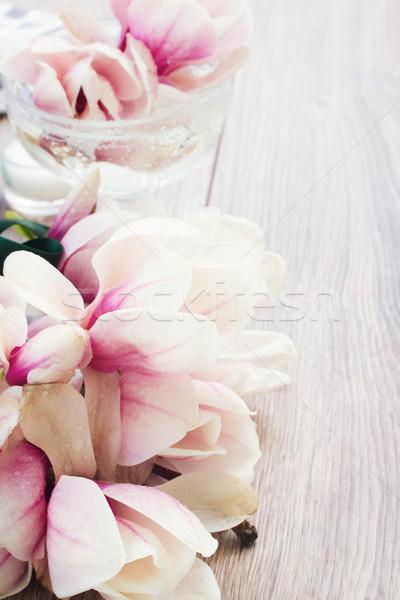 магнолия цветы свежие деревянный стол любви дизайна Сток-фото © neirfy