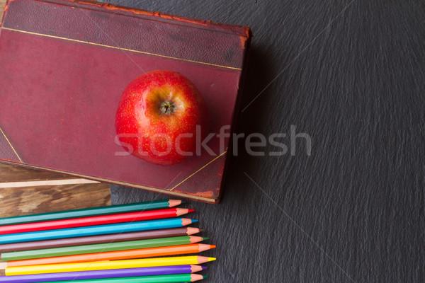 Ingesteld kleurrijk potloden vintage boek Stockfoto © neirfy