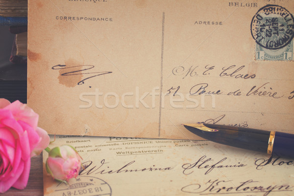 antique empty postcard with  quill pen  Stock photo © neirfy