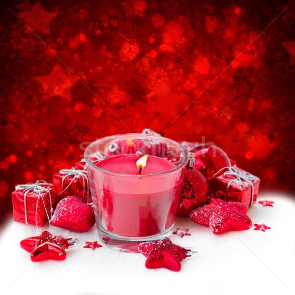 Stockfoto: Christmas · kaars · Rood · decoraties · sterren