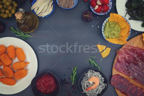 Tabel spaans tapas paprika olijven frame Stockfoto © neirfy