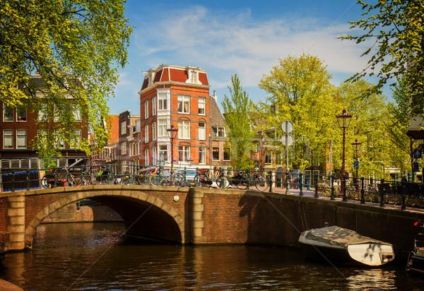 Kanal halka Amsterdam görmek Retro ev Stok fotoğraf © neirfy