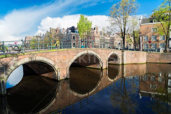 Huizen Nederland kanaal brug mooie Stockfoto © neirfy
