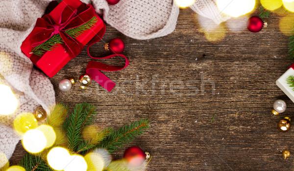 Рождества подарок трикотажный вечнозеленый Сток-фото © neirfy