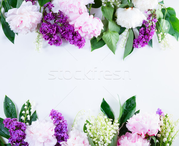 lilac, pink peonies and lilly of the walley Stock photo © neirfy