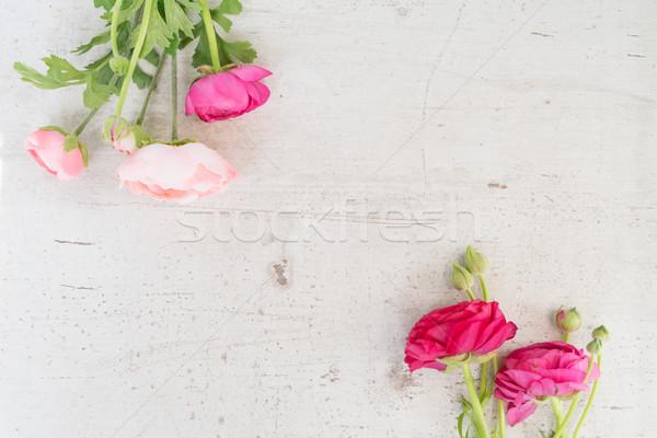 çiçekler çerçeve beyaz üst görmek bo Stok fotoğraf © neirfy