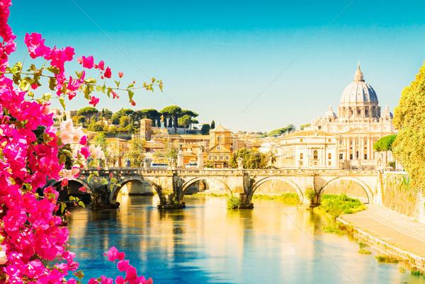 Zdjęcia stock: Katedry · most · rzeki · kwiaty · Rzym · Włochy