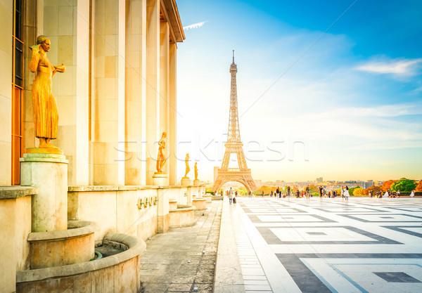 Eiffel turné Párizs Eiffel-torony kertek tér Stock fotó © neirfy