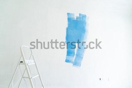 Ház rendbehoz fehér fal kék festék Stock fotó © neirfy