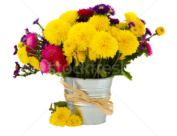 Stock photo: bouquet of aster and mums in vase