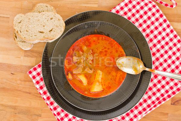 Húngaro sopa prato servido prato comida Foto stock © neirfy