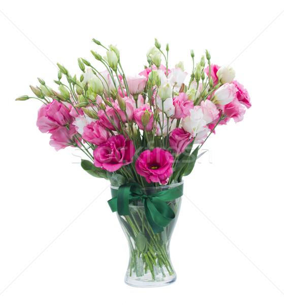 Pink eustoma flowers in vase Stock photo © neirfy