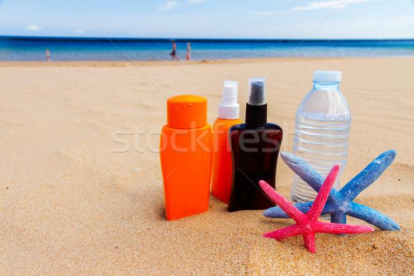 Water zandstrand fles cool zee kant Stockfoto © neirfy