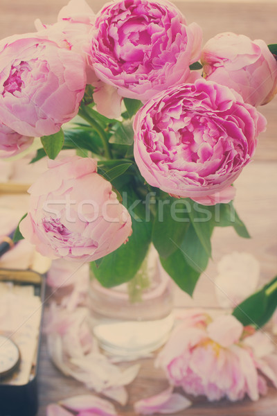 pink peonies, retro toned Stock photo © neirfy