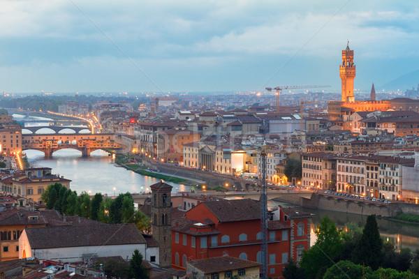Florence Itália famoso ponte cidade velha noite Foto stock © neirfy