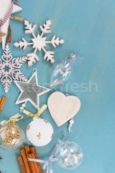ストックフォト: 青 · 白 · クリスマス · スタイル · コピースペース · 木製