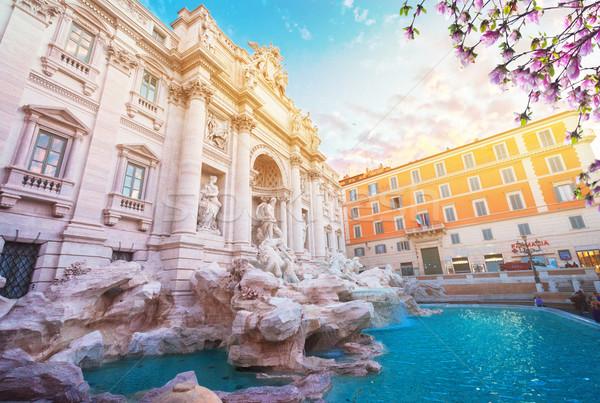 Сток-фото: фонтан · Рим · Италия · Восход · свет · Sunshine