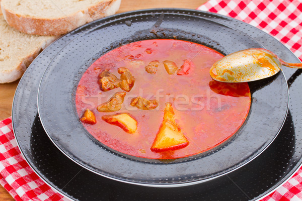 hungarian goulash soup in plate Stock photo © neirfy