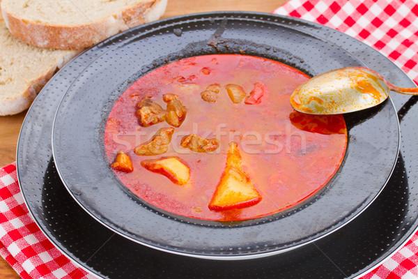 Stock fotó: Magyar · leves · tányér · edény · közelkép · étel