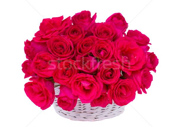 Leylak rengi güller sepet cam kalp yalıtılmış Stok fotoğraf © neirfy