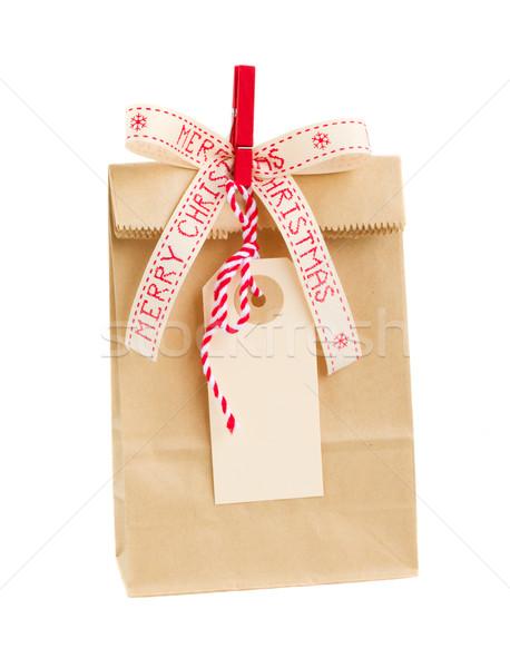Torby papierowe pusty tag christmas odizolowany biały Zdjęcia stock © neirfy