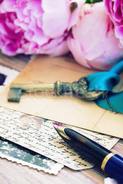 пер антикварная письма старые цветы Сток-фото © neirfy