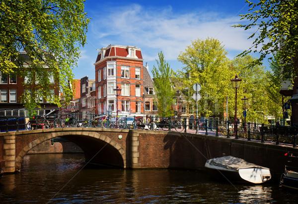 運河 リング アムステルダム 表示 レトロな 家 ストックフォト © neirfy