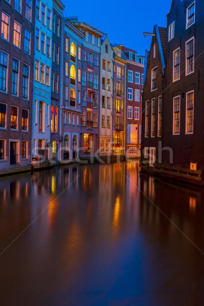 Häuser Niederlande Kanal Reflexionen Nacht Stock foto © neirfy