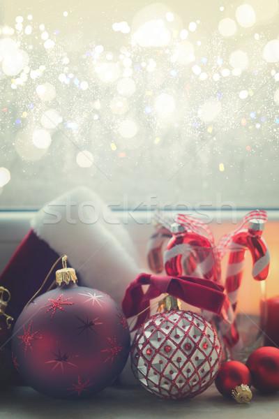 Christmas scène vensterbank decoraties winter retro Stockfoto © neirfy