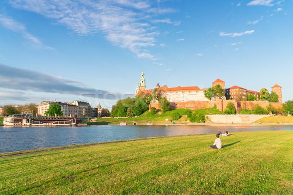 Colina cracovia Polonia castillo verde Foto stock © neirfy