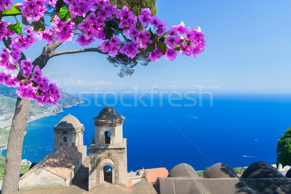 Foto stock: Pueblo · costa · Italia · iglesia · flores · playa
