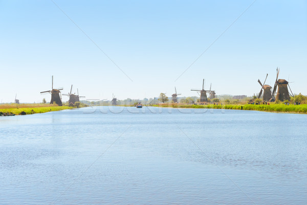 Photo stock: Moulin · à · vent · rivière · traditionnel · rural · paysages