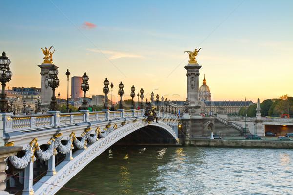 Bridge of Alexandre III at sunset Stock photo © neirfy