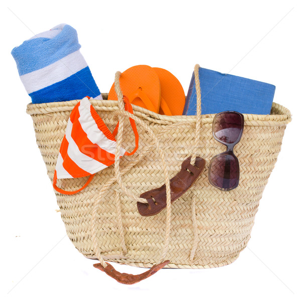 sunbathing accessories in basket Stock photo © neirfy