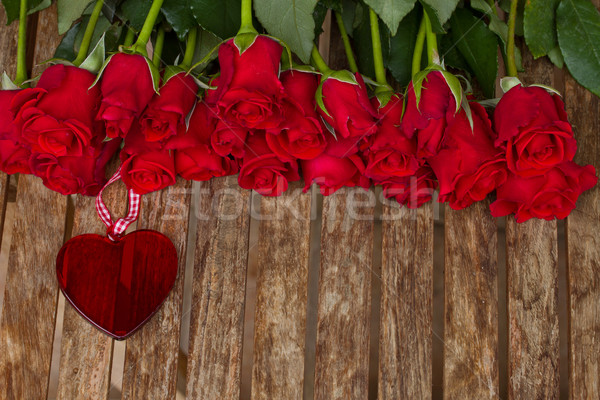 row of roses with heart Stock photo © neirfy